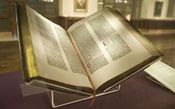 350px-Gutenberg_Bible,_Lenox_Copy,_New_York_Public_Library,_2009._Pic_01